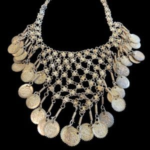 Stunning silver tone BIB necklace dangling